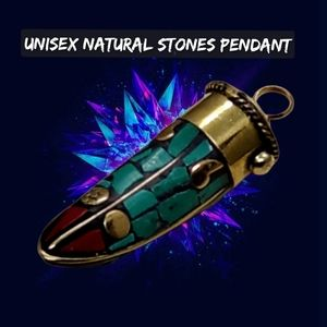 Gorgeous Unisex Pendant w/Multicolor Natural Stone
